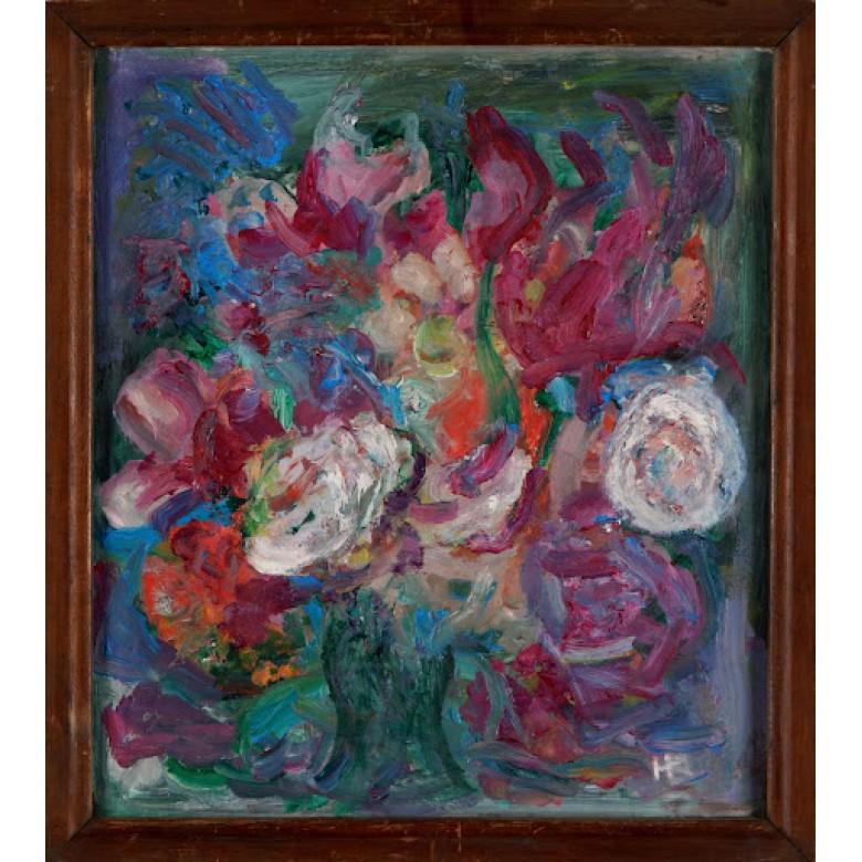 """Kwiaty w wazonie, Helena Papee-Bożyk. Olej na desce. Obraz sygnowany inicjałami artystki: """"H.P."""". II poł. XX wieku."""