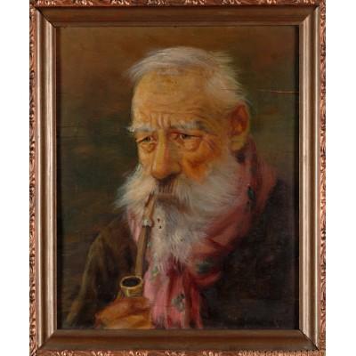 Starzec z fajką – autor nieznany