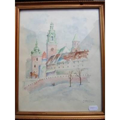 Widok Wawelu, J. Muller. Akwarela na papierze. Posiada sygnaturę autorską. Lata 1921 – 1960.