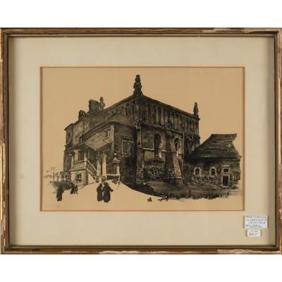 Stara synagoga w Krakowie, Jan Gumowski. Heliograwiura. Sygnowana inicjałami autora. Pocz. XX wieku.