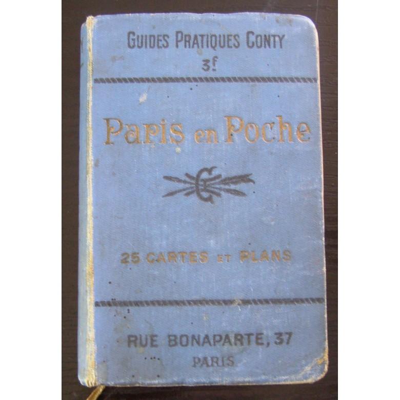 Przewodnik po Paryżu pt. Paris en poche. Wersja kieszonkowa w pięknej oprawie ze złoconymi i tłoczonymi literami. Ok. 1910 r.