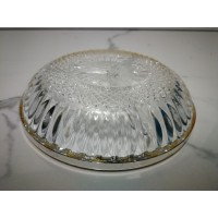 Paterka kryształowa z posrebrzoną obejmą. Wnętrze dzielone na trzy przegrody