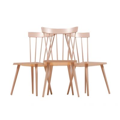 Krzesła w stylu skandynawskim według projektu Børge Mogemsena. Drewno, lakier w kolorze beżowym.   Lata 60/70. XX w.