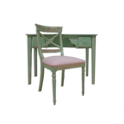 Krzesło w stylu francuskim w kolorze pastelowym.  Tapicerka w pastelowe pasy. Elementy toczone. 2 poł. XX w.