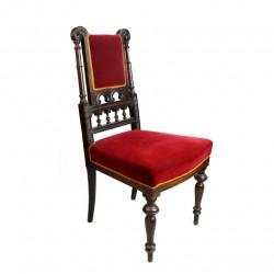 Krzesło eklektyczne tapicerowane aksamitem. Polska, Koniec XIX w.