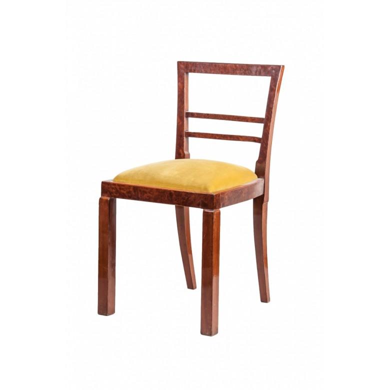 Krzesło fornirowane palisandrem w stylu Art Deco. Tapicerowane aksamitem  w kolorze oliwkowym. Polska lata 30. XX w.