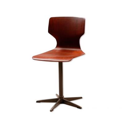 Krzesła obrotowe z kompozytu drewna. Pagwood / Pagholz Flototto.  Sygnowane: Pagholz / Pagwood  6.5184-4. Niemcy, Lata 60/70. XX w.