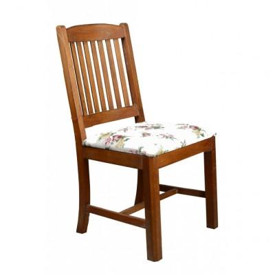 Krzesło w stylu rustykalnym tapicerowane tkaniną w róże. Drewno egzotyczne, twarde. Hiszpania II poł. XX w.