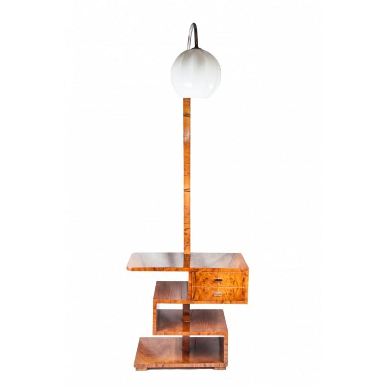 Stolik - Lampa art deco, okleina: orzech. Klosz szklany w kształcie kanelowanej kuli. Polska, lata 30. XX wieku