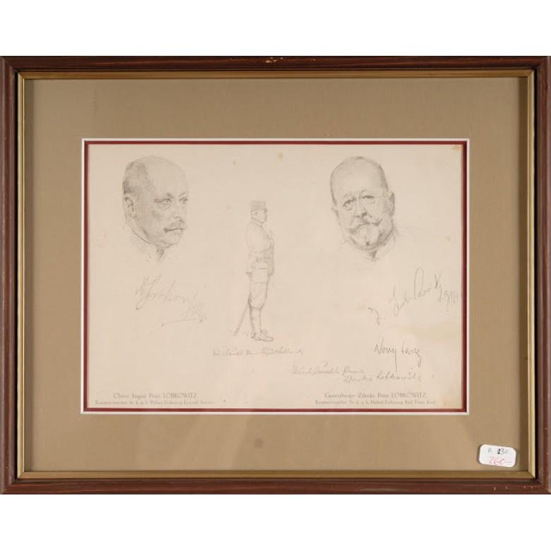 Reprodukcja szkicu przedstawiającego wojskowych, Ludwig Koch. 1914 r.