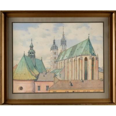 Kościół Mariacki widziany od Małego Rynku, Sygnowany: Matzenauer M.  1942 r.Akwarela na papierze.
