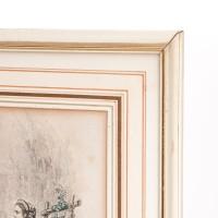 Moda w stylu Biedermeier. Miedzioryt podkolorowany akwarelą. Sygn. Francja, XIX w.