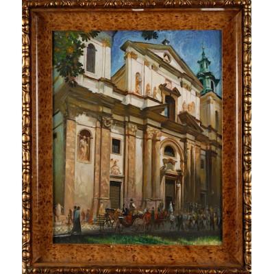 Kościół św. Anny w Krakowie, Nikolin. Gwasz. Obraz sygnowany datą: 06.23.2003. Polska. 2003 r.