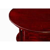 Owalny stolik Thonet ze śródpółką, drewno bukowe, bejcowane na palisander i politurowane na połysk. Austria. Pocz. XX w.
