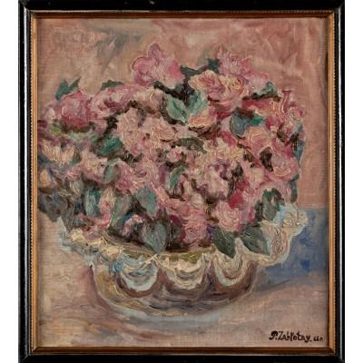 Róże, Sygn. P. Zabłotny. 66. Olej na desce. 1966 r.