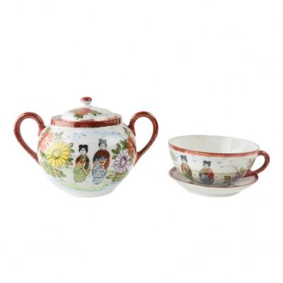 Cukierniczka w komplecie z filiżanką, porcelana szkliwiona, Chiny/Japonia, XX w.