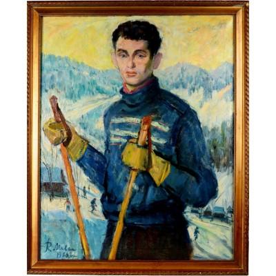 Narciarz, Roman Malec. Olej na płótnie. Obraz sygnowany trzykrotnie nazwiskiem malarza i datą. Lata 60. XX wieku.