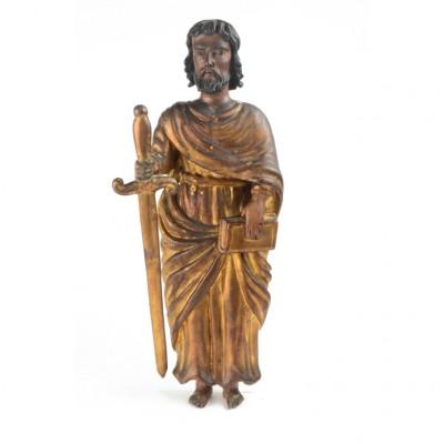 Okazała drewniana rzeźba przedstawiająca św. Pawła, zachowana polichromia i złocenia