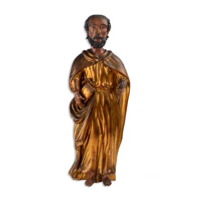 Okazała drewniana rzeźba przedstawiająca św. Piotra, zachowana polichromia i złocenia