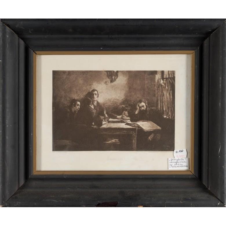 "Szkoła talmudystów, Samuel Hirszenberg. Litografia. Sygn. ""wg. Samuela Hirschenberga"". Po 1887 r."