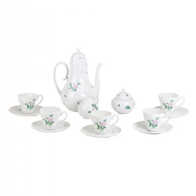 Serwis do kawy marki Rosenthal, proj. Bjørn Wiinblad, biała porcelana fakturowana koronkowo z delikatną malaturą w formie różyczek, Niemcy, XX w.