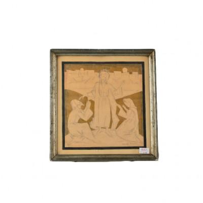 """Obraz """"Chrystus"""", Stanisław Turewicz, rysunek na papierze, podmalowany złotą farbką"""