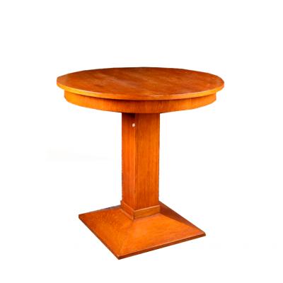Stół okrągły na kwadratowej stopie ze stożkową podstawą w stylu Art Deco, Polska, lata 30. XX wieku.
