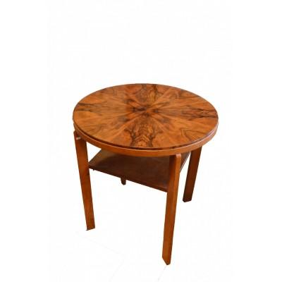 Stół owalny z kwadratową śródpółką, w stylu Art Deco, Polska, lata 30 XX wieku.