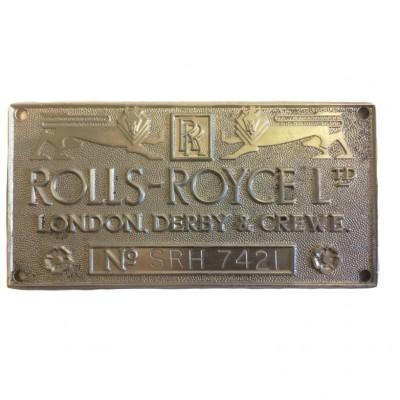 Tabliczka marki Rolls- Royce. Metal. Wielka Brytania, II poł. XX wieku.
