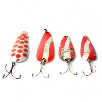 Zestaw czerwono-białych blaszanych wahadłówek z kotwiczkami, 4 szt.