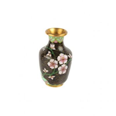 Wazon z motywem różowych kwiatów, emalia Cloisonné, Chiny, XX w.