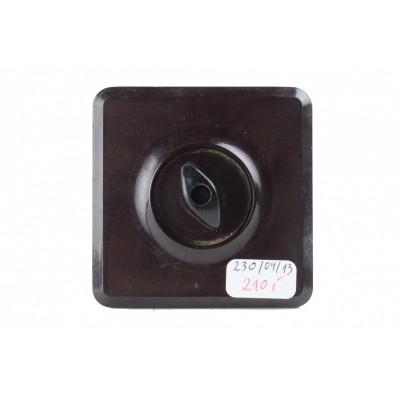 Włącznik do światła z pokrętłem. Bakelit w kolorze czarnym. II poł. XX wieku.