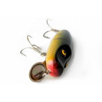 Wobler  przynęta w formie czarno-żółtej rybki z dwoma kotwiczkami oraz sterem, metal, drewno polichromowane