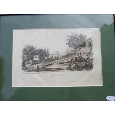 Pałac w Zalesiu (Zalesie en Lithuanie), wg. rysunku Leonarda Chodźko, ryte przez Rouargue, odbite w drukarni Leclere. Staloryt.1822 r.