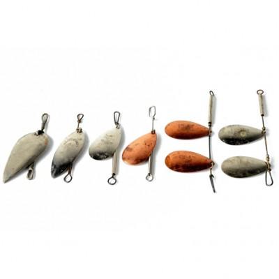 Komplet obrotówek (przynęt wędkarskich) 4 pojedyncze, 2 podwójne, sygn. Hildebrandt oraz Pflueger Trade Nara Indiana Made in USA