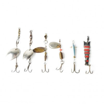 Zestaw metalowych przynęt wędkarskich, 4 obrotówki, 2 wahadłówki