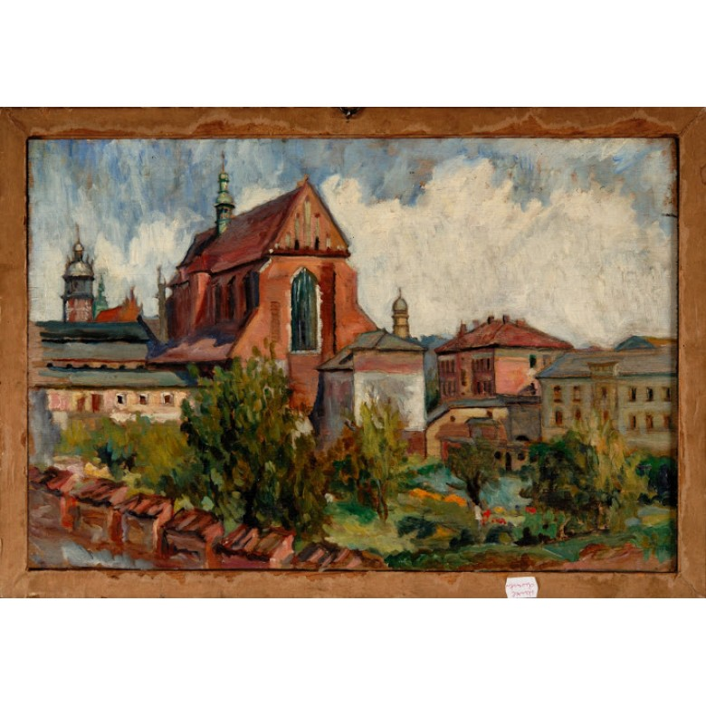 Obraz podwójny z widokami Katedry na Wawelu i kościoła św. Katarzyny, Zygmunt Król. Olej na desce. Poł. XX w.