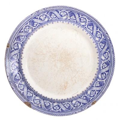 Kamionkowy talerz z kobaltowym ornamentem, pocz. XIX w.