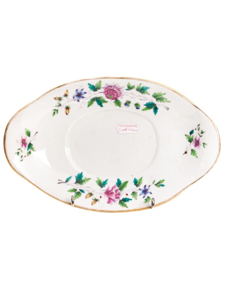 Półmisek porcelanowy z kwiatami, sygnowany, Rosja, Sankt Petersburg, I poł. XIX w.