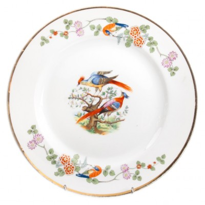 Talerz porcelanowy z rajskimi ptakami, sygnowany, Rosenthal, I poł. XX w.