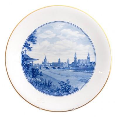 Wielki talerz porcelanowy z panoramą Drezna, sygnowany, MIŚNIA, pocz. XX w.