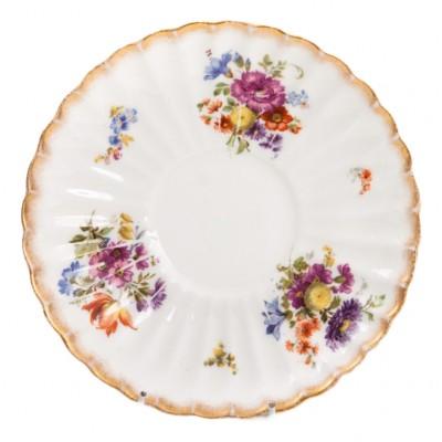 Spodek rozeta z kwiatami, porcelana sygnowana, Bishop & Stonier, Anglia, Staffordshire