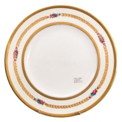 Talerz porcelanowy, 3 rodzaje złoceń, sygn. CAULDON CHINA, Anglia