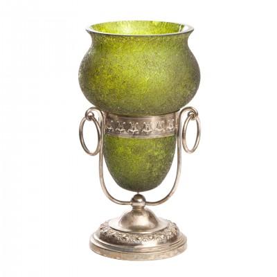 Zielony wazon, szkło mrożone, podstawa posrebrzana, Austria, pocz. XX w.